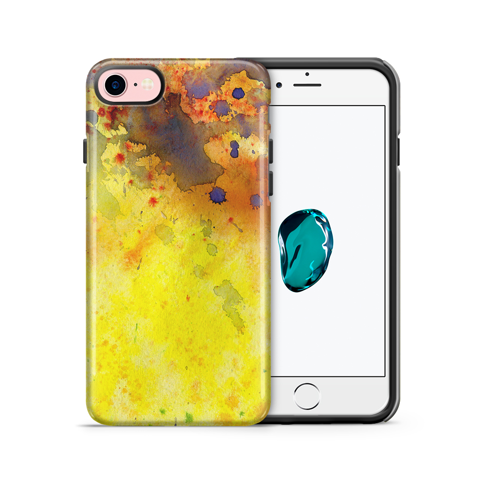 Tough mobilskal till Apple iPhone 7/8 - Vattenfärg - Gul/Blå