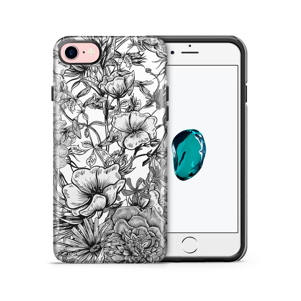 Tough mobilskal till Apple iPhone 7/8 - Blommor - Svart/Vit