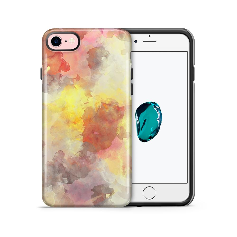 Tough mobilskal till Apple iPhone 7/8 - Vattenfärg - Grå/Röd
