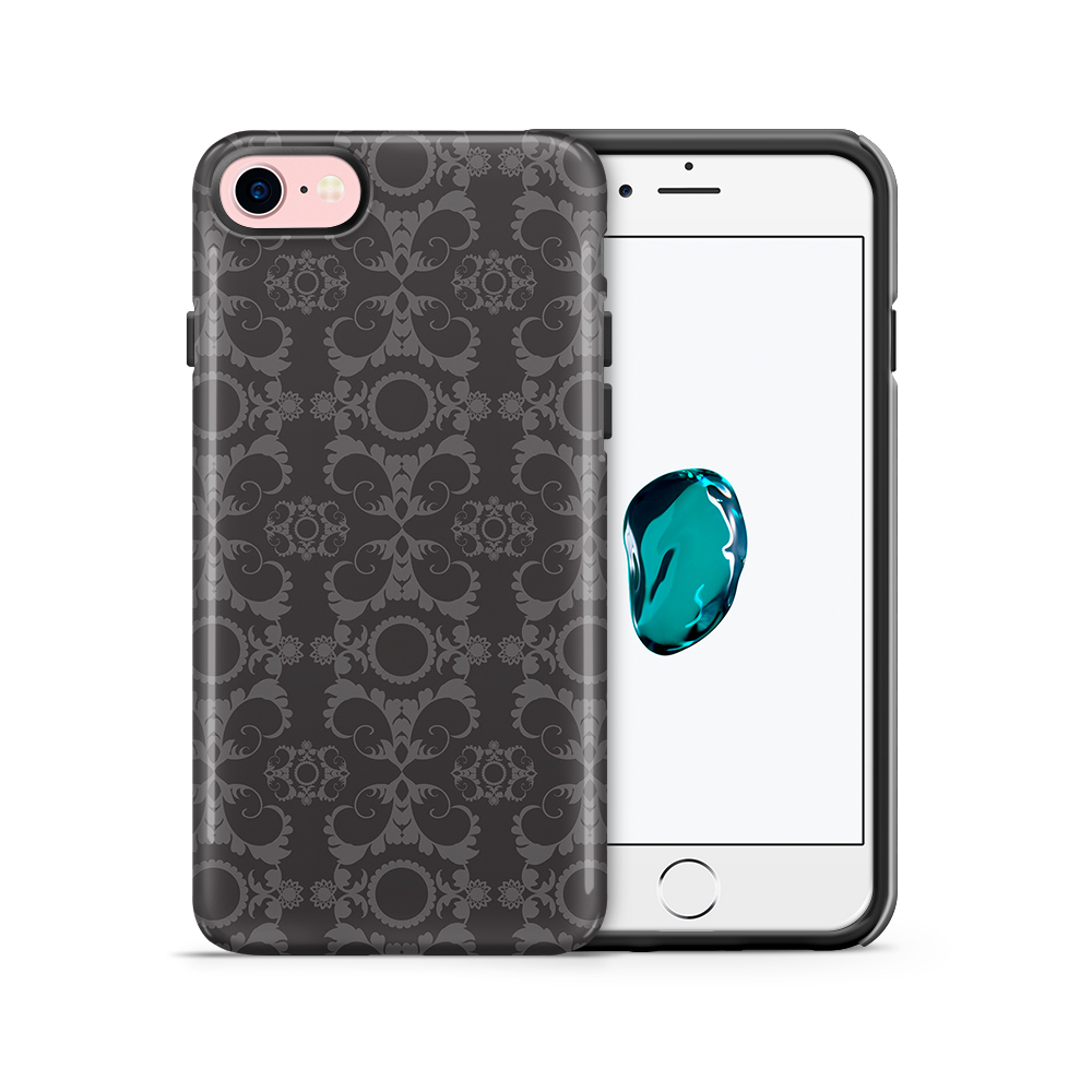 Tough mobilskal till Apple iPhone 7/8 - Mönstrad tapet - Svart/Grå