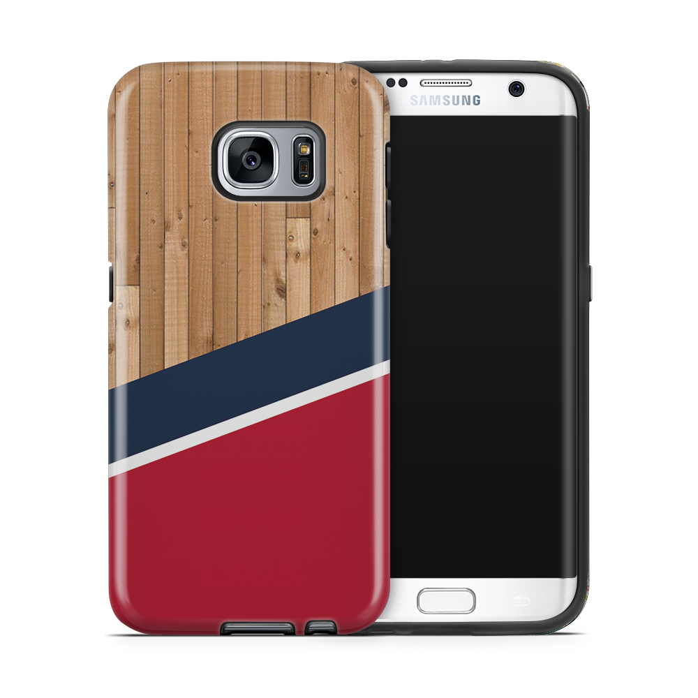 Tough mobilskal till Samsung Galaxy S7 Edge - Wood ränder - Röd