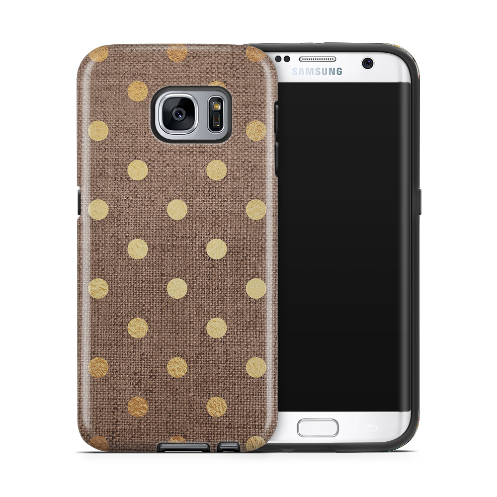 Tough mobilskal till Samsung Galaxy S7 Edge - Canvas Polka - Guld/Brun