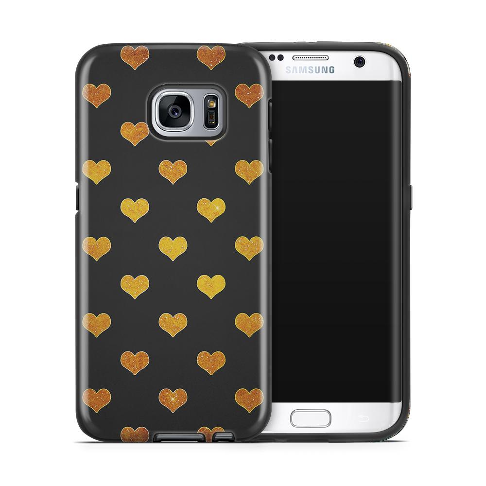 Tough mobilskal till Samsung Galaxy S7 Edge - Hjärtan - Guld/Svart