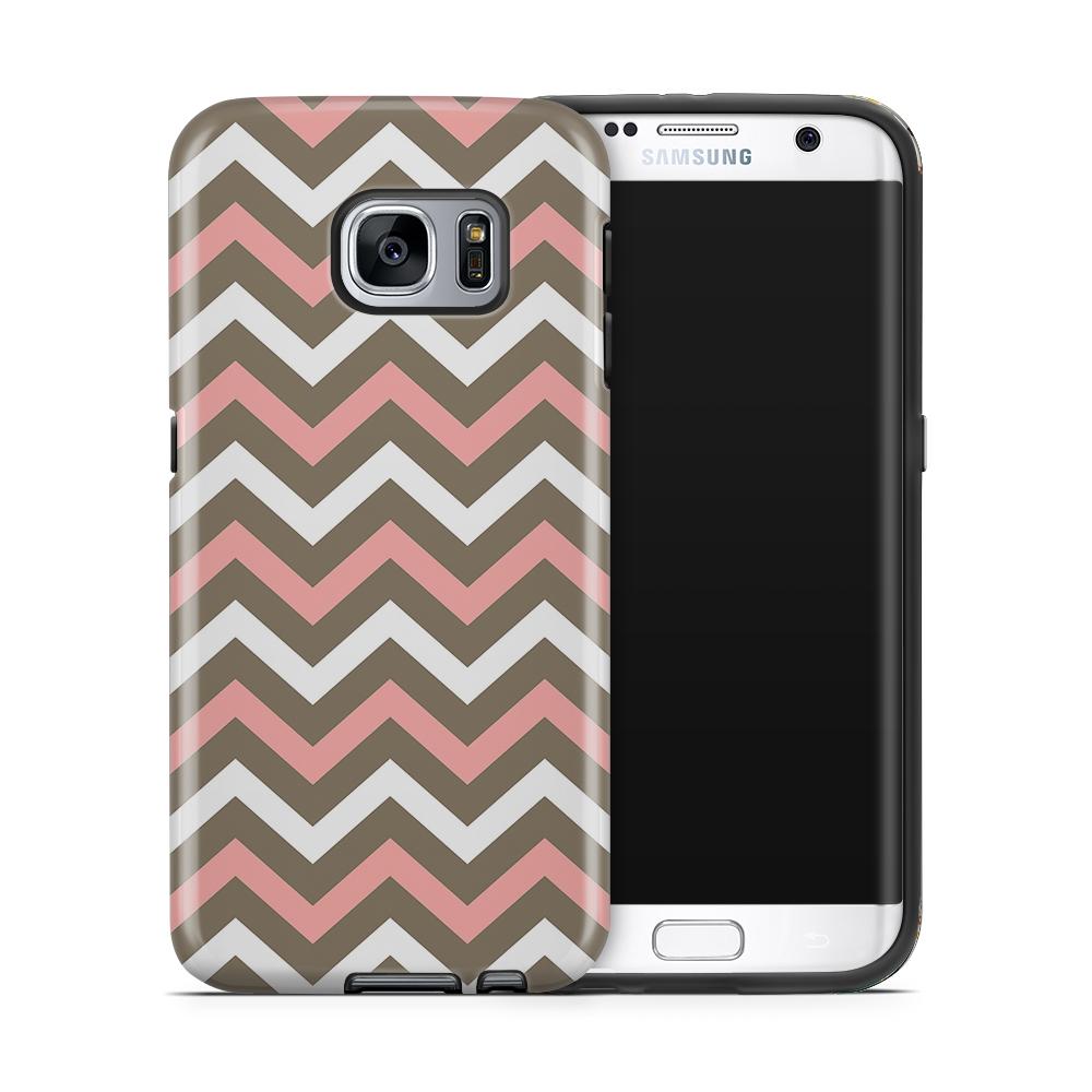 Svenskdesignad mobilskal till Samsung Galaxy S7 Edge - Ränder - Vit Rosa dc7312fcf3187