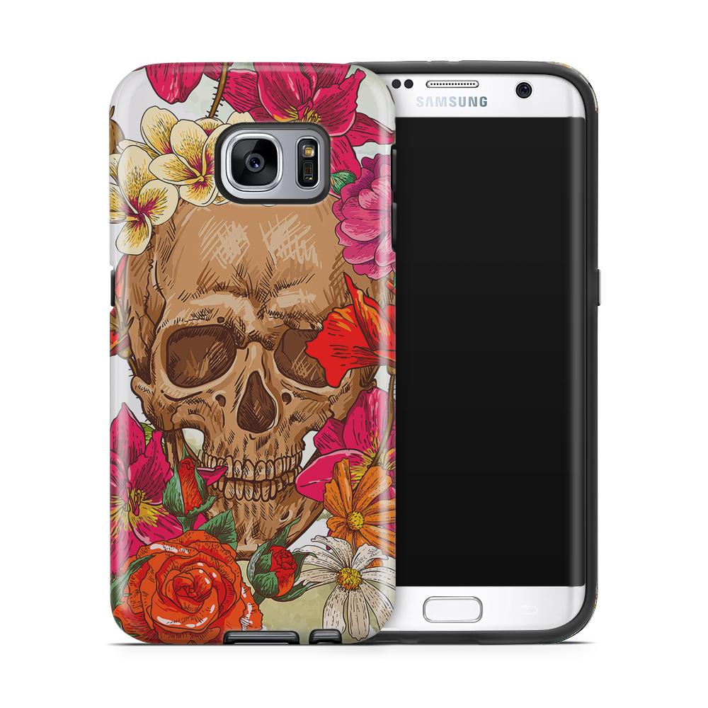 Tough mobilskal till Samsung Galaxy S7 Edge - Dödskalle - Blommor