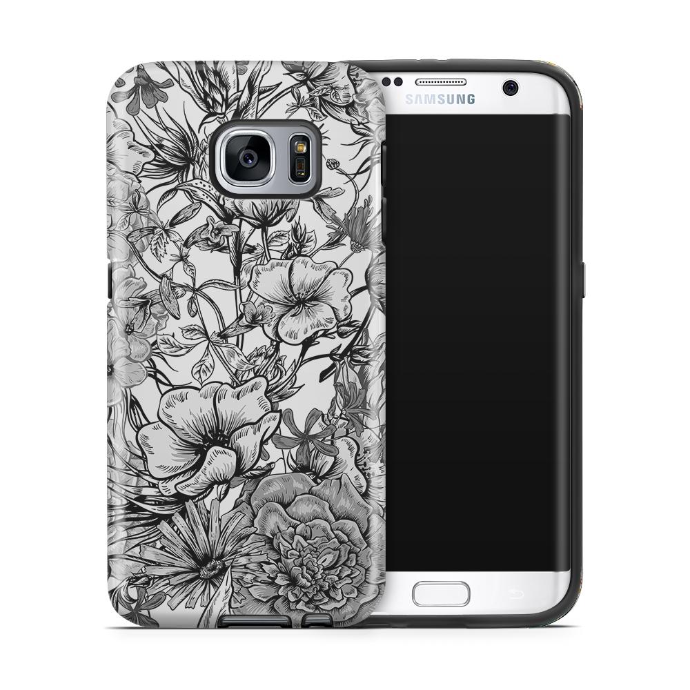 Tough mobilskal till Samsung Galaxy S7 Edge - Blommor - Svart/Vit