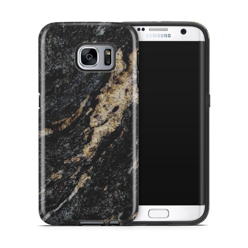 Tough mobilskal till Samsung Galaxy S7 Edge - Marble - Svart