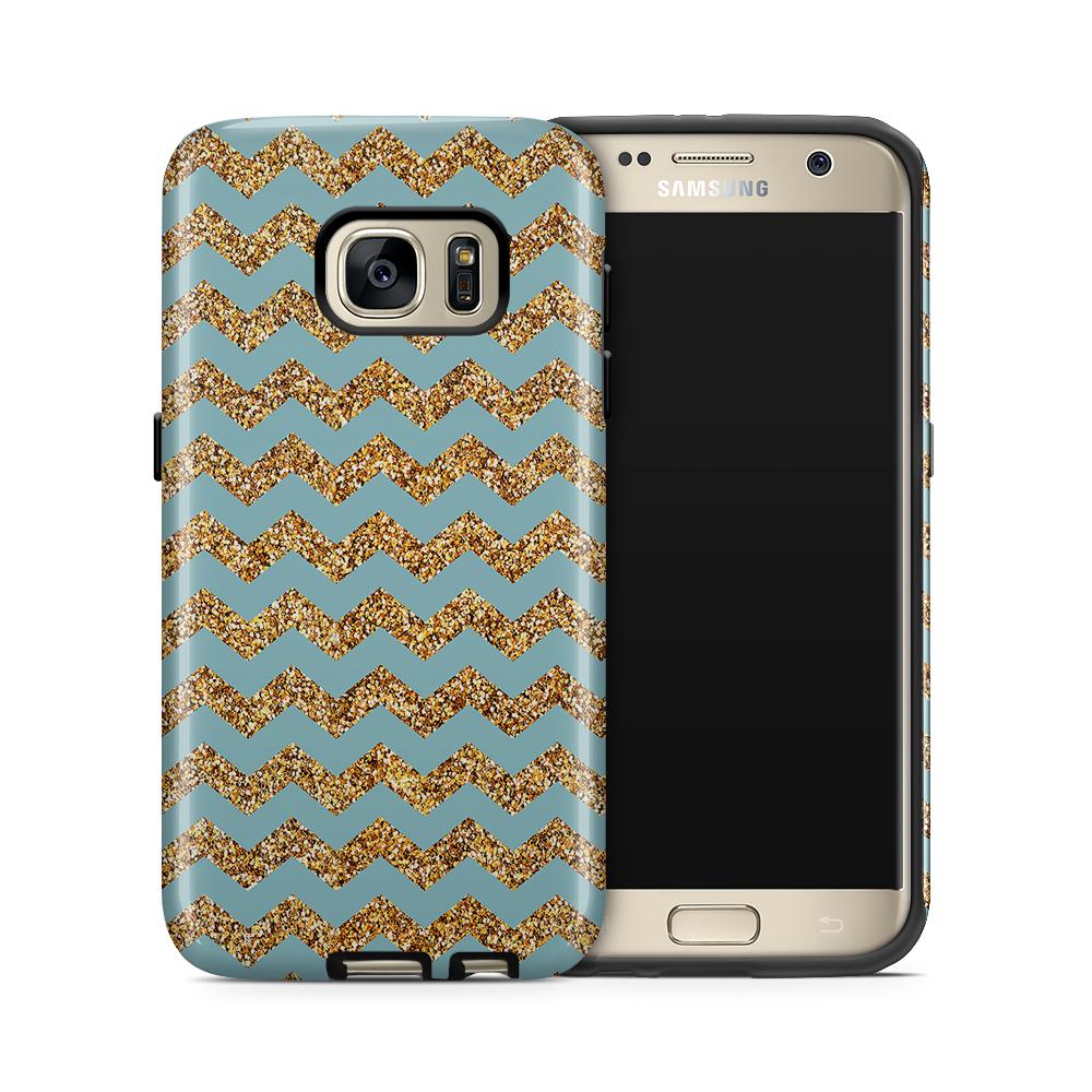 Tough mobilskal till Samsung Galaxy S7 - Ränder - Guld/Blå