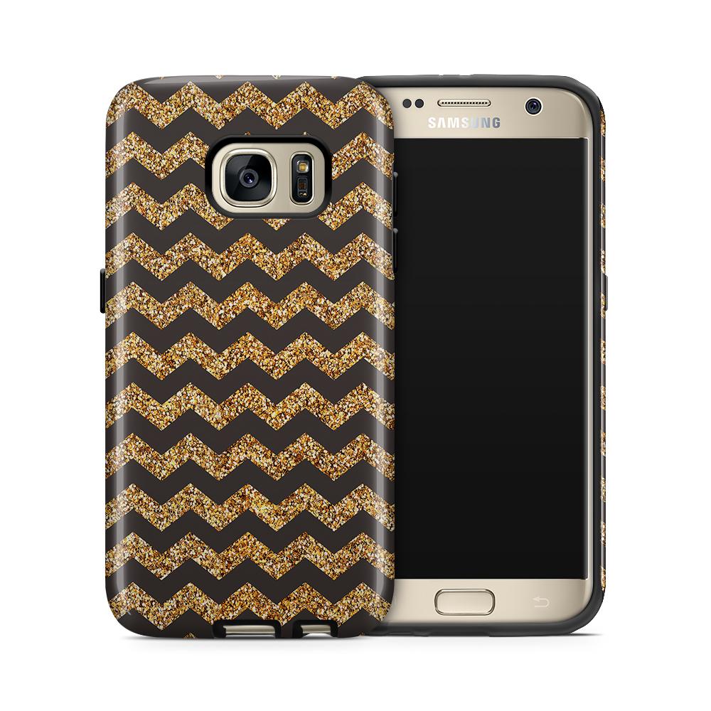 Tough mobilskal till Samsung Galaxy S7 - Ränder - Guld/Svart