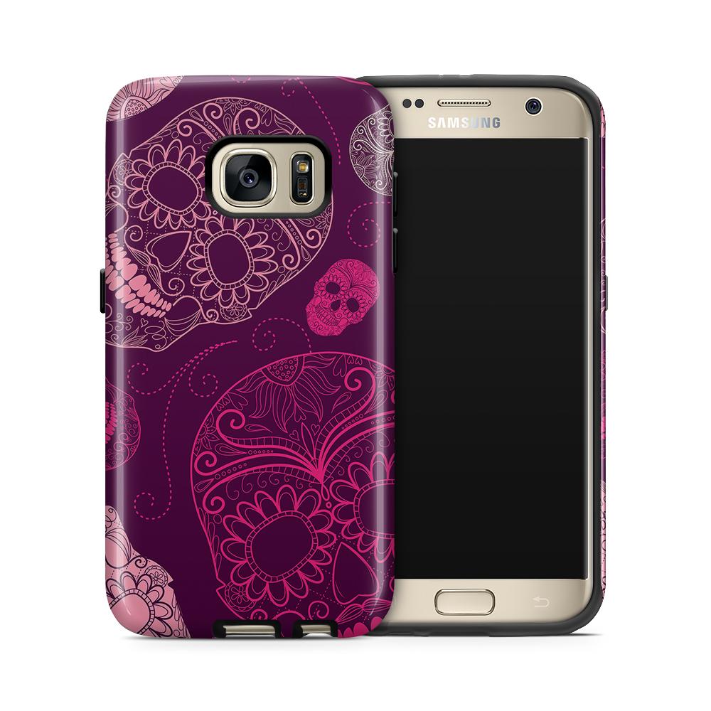 Tough mobilskal till Samsung Galaxy S7 - Glada dödskallar - Lila